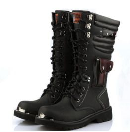 Mens Lace Up Military Combat Ridding Knee High Boots Winter Punk Casual Shoes