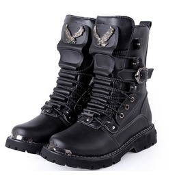 Punk Black Eagles Lace Up Buckles Men Knight Boots Men Boots