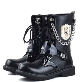Chain Stud Badge Men Martin Boots Men Army Boots