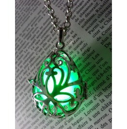 Fairy Punk Jewelry Necklace Drop Locket With Green Glowing Orb