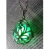 Fairy punk jewelry necklace drop locket with green glowing orb pendants 5