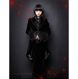 Black Velvet Gothic Swallow Tailed Coat For Women