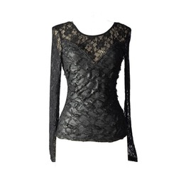 Black Sexy Lace Gothic T Shirt Tops For Women