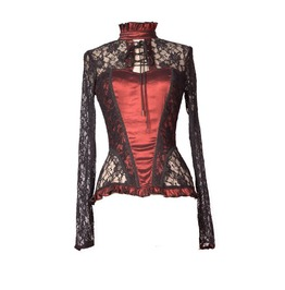 Wine Red Sexy Lace Long Sleeves Gothic T Shirt Tops For Women