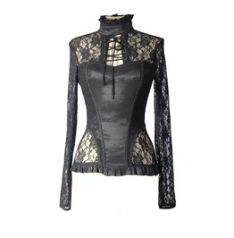 Black Sexy Lace Long Sleeves Gothic T Shirt Tops For Women