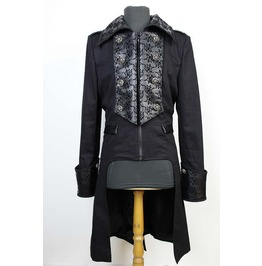 Black High Low Gothic Trench Coat For Men
