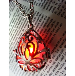 Fairy Punk Jewelry Necklace Drop Locket With Red Glowing Orb