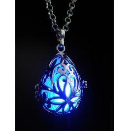 Fairy Punk Jewelry Necklace Drop Locket With Blue Glowing Orb