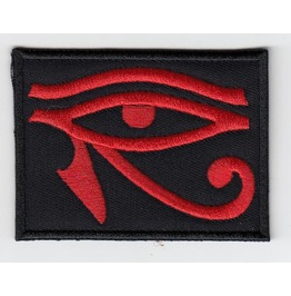 God Ra Black/Red Embroidered Patch, 1,6 X 2,4 Inch