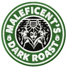 Embroidered Faux Starbucks Maleficent's Dark Roast Patch Iron On / Sew On