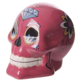 Novelty Ceramic Candy Skulls Day Of The Dead Money Box