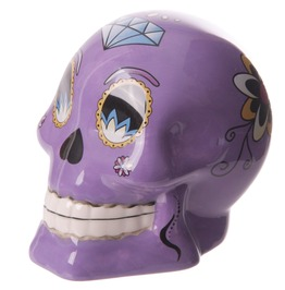 Novelty Purple Ceramic Candy Skulls Day Of The Dead Money Box