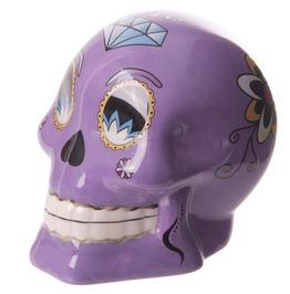Novelty Purple Ceramic Candy Skulls Day Of The Dead Money Box