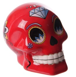 Novelty Red Ceramic Candy Skulls Day Of The Dead Money Box