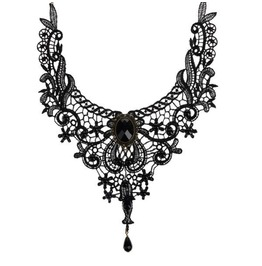 Gothic Vintage Look Victorian Black Lace Choker Necklace