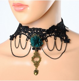Vintage Look Black Lace Gothic Choker Green Flower Gothic Necklace Jewelry
