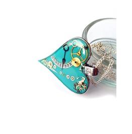 Turquoise Blue Steampunk Heart Pendant, Steampunk Jewelry, Mechanical Heart