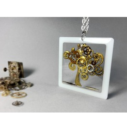 Steampunk Necklace, Steampunk Tree Of Life, Steampunk Jewelry,Resin