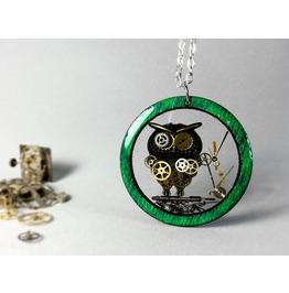Steampunk Owl, Green Wood Pendant,Resin Jewelry, Owl Jewelry