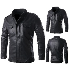 Mens Pu Leather Black Jacket