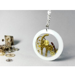 Steampunk Cat Necklace, White Cat Pendant,Steampunk Jewelry, Eco Resin