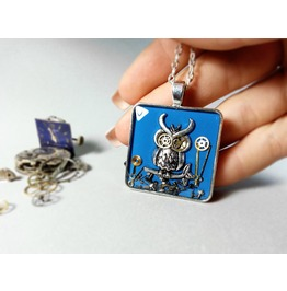Deep Blue Steampunk Owl Necklace, Steampunk Necklace, Eco Resin Jewelry