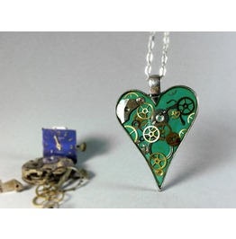 Love Pendant, Resin Heart Necklace, Steampunk Resin Jewelry, Eco Resin
