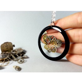 Butterfly Necklace, Steampunk Butterfly, Vintage Pendant, Eco Resin Jewelry