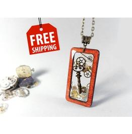 Key Resin Pendant, Resin Steampunk Necklace, Wood Pendat, Eco Resin