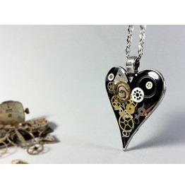 Black Steampunk Heart, Pendant Heart, Steampunk Necklace,Eco Friendly Resin