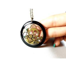 Skeleton Head Pendant, Transparent Steampunk Necklace, Resin Steampunk