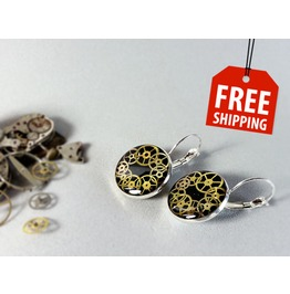 Mechanical Earrings, Resin Earrings, Eco Friendly, Vintage Watch Parts