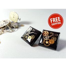 Black Steampunk Earrings, Black Jewelry, Ecofriendly Resin, Resin Jewelry