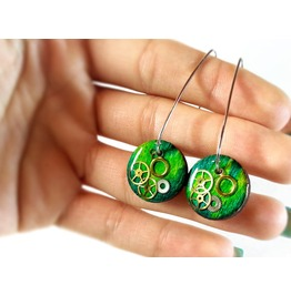 Sterling Silver Green Earrings, Wooden Earrings, Real Wood Earrings,