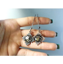 Platinum Plated Earrings, Steampunk Earrings, Luxury Gift, Unique Earrings