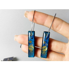 Blue Earrings, Sterling Silver Earrings, Wooden Earrings, Gears Earrings