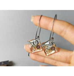 Transparent Earrings, Sterling Silver Earrings, Steampunk Earrings, Wooden