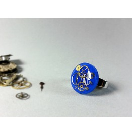 Steampunk Ring, Blue Resin Ring, Steampunk Jewelry, Clockparts Rings