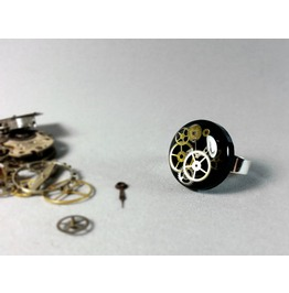 Steampunk Jewelry, Steampunk Rings,Resin Steampunk Ring, Unique Black Ring