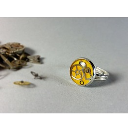 Vintage Yellow Ring, Watch Parts Ring, Eco Friendly Resin, Steampunk Rings