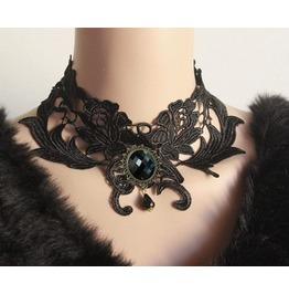 Gothic Victorian Vintage Look Gem Black Choker