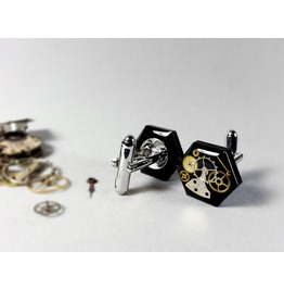 Steampunk Resin Cufflinks, Weeding Cufflinks, Ecofriendly Resin Cufflinks,