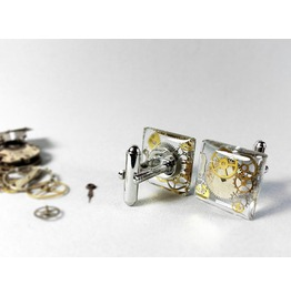 Clear Resin Cufflinks, Steampunk Cufflinks, Transparent Cuff Links, Unique