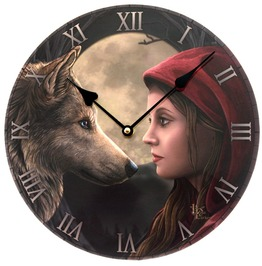Moon Struck Wolf Attack Red Riding Hood Clock