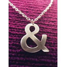 Ampersand Pendant Necklace Silhouette Typography Graphic Design