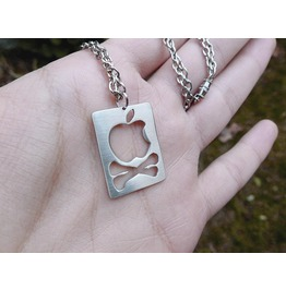 Apple Logo And Crossbones Pendant Necklace