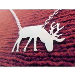 Male Deer With Antlers Necklace