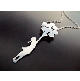 Banksy Balloon Girl Necklace Sterling Silver