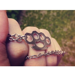 Brass Knuckles Necklace Pendant Nickel Silver