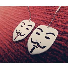 Guy Fawkes Mask V For Vendetta Pendant Earrings